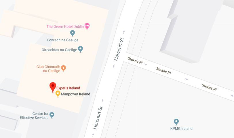 Google Map, Location for Experis Ireland on the Harcourt Street Dublin 2