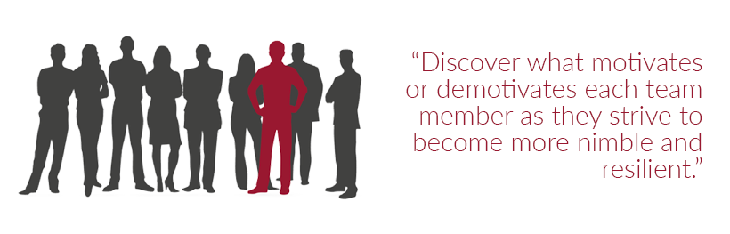 """""""Discover what motivates or demotivates each team member as they strive to become more nimble and resilient."""""""