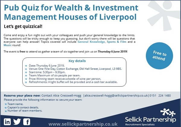 Wealth & Investment Management - Annual Pub Quiz - Sellick Partnership