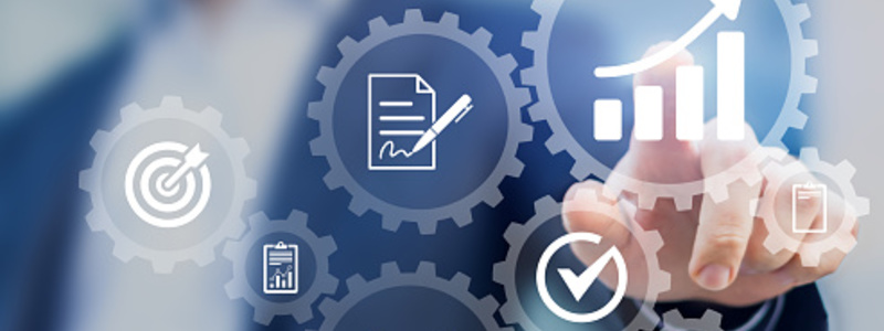 Search News Article Header Image. Featuring Business process management automation concept, internet and ERP technology, gears