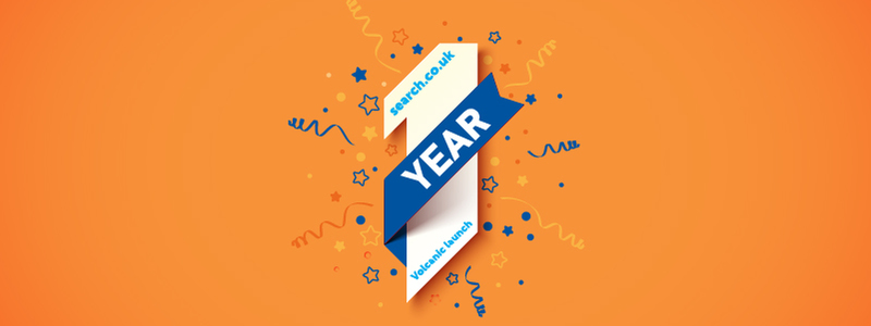 Search.co.uk Celebrates 1st Birthday Since Relaunch - Article Header Image. Featuring Numerical Character '1', With The Word 'Year', Stars & Streamers And An Orange Background
