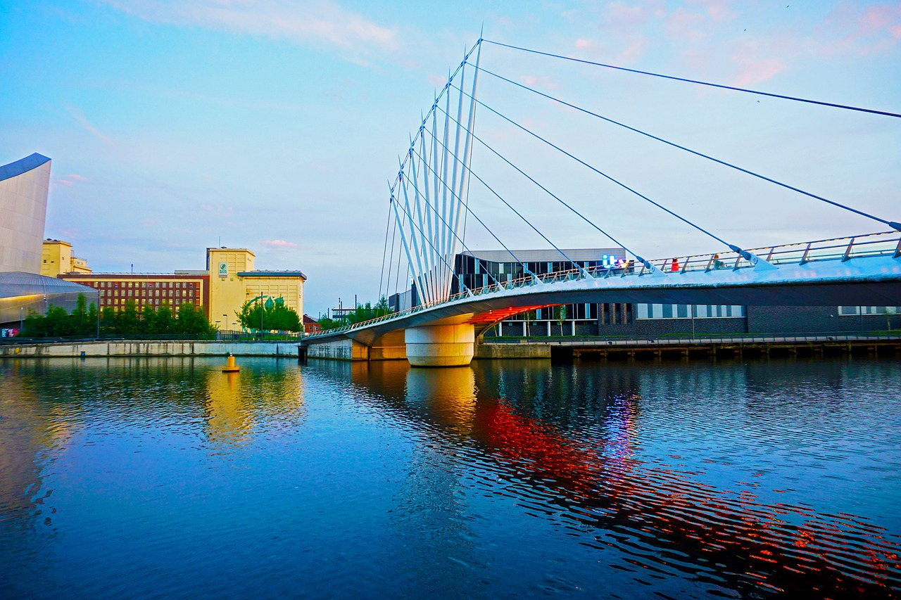 Bridge across the water to MediaCity UK in Salford Quays, Manchester