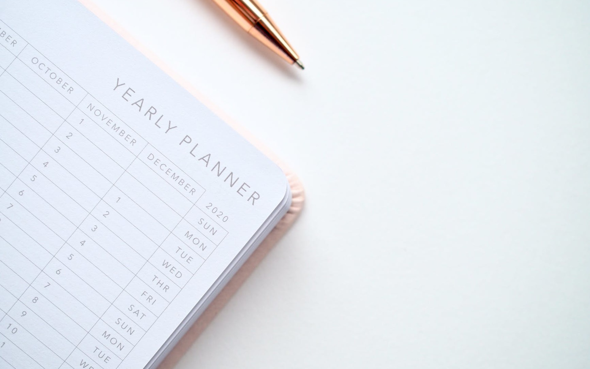 A 2020 diary planner and gold pen