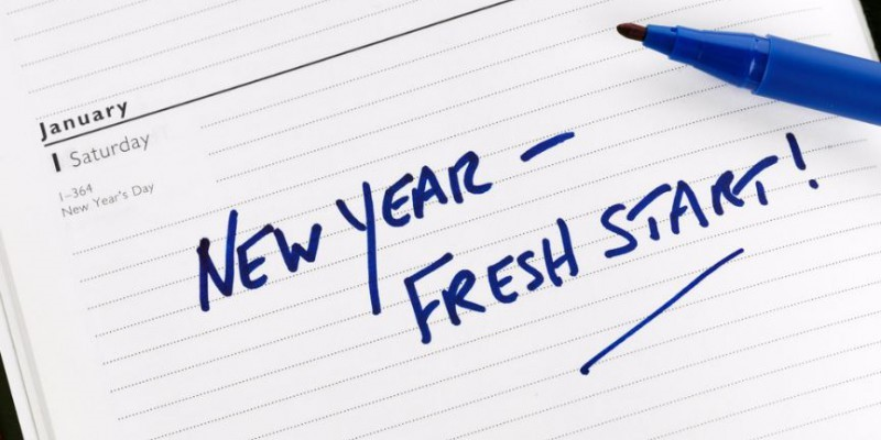 New year, fresh start written on January 1st in a diary