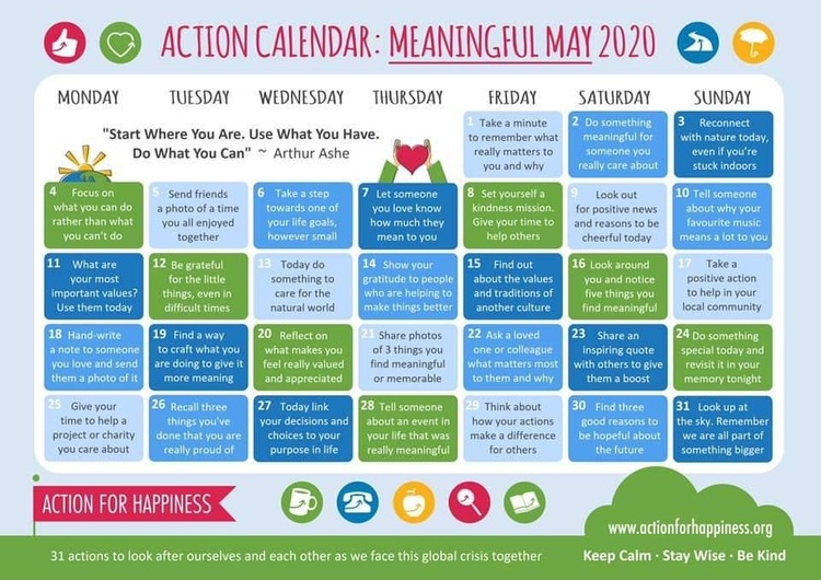 meaningful May calendar