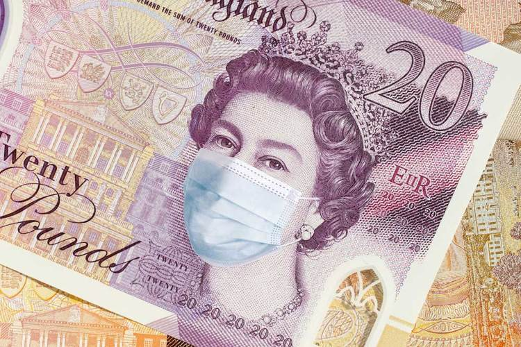 image of twenty pound note with queen wearing facemask