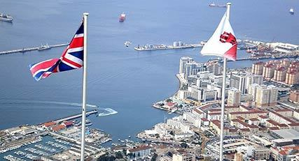 Gibraltar and British flags