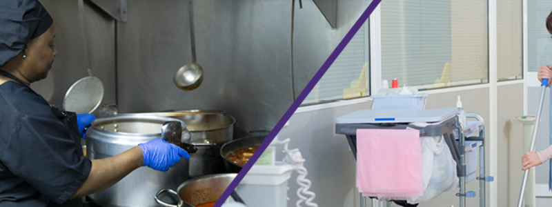 The image is split into two separate images. The one on the left is of a female chef cooking on a stove. She us wearing a uniform and blue protective gloves. The female on the right s holding a mop and cleaning in a hospital.