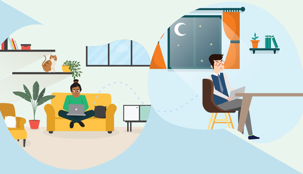 illustration of working remotely