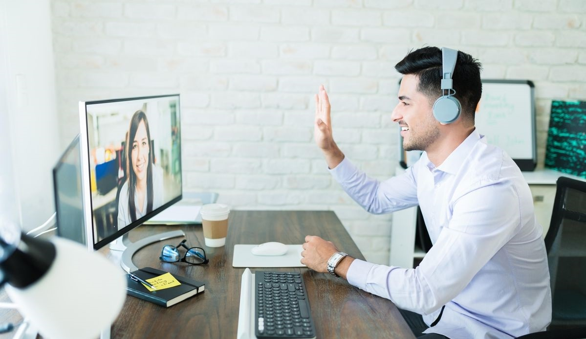 office professional having a video call / interview