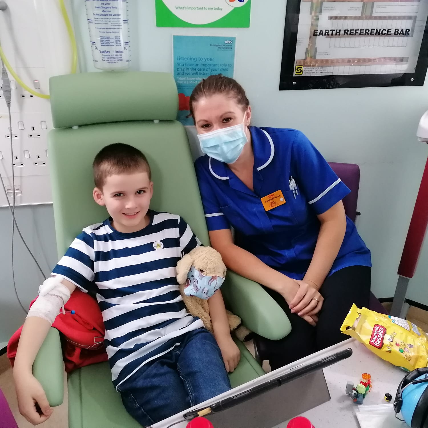 Carter in hospital with his nurse