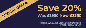 SPECIAL OFFER - Save 20%. Was £2950, Now £2360. Offer available until 31 January 2021. Prices exclude VAT.