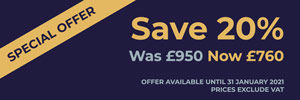 SPECIAL OFFER - Save 20%. Was £950, Now £760. Offer available until 31 January 2021. Prices exclude VAT.