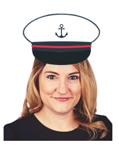Sam in a captain hat
