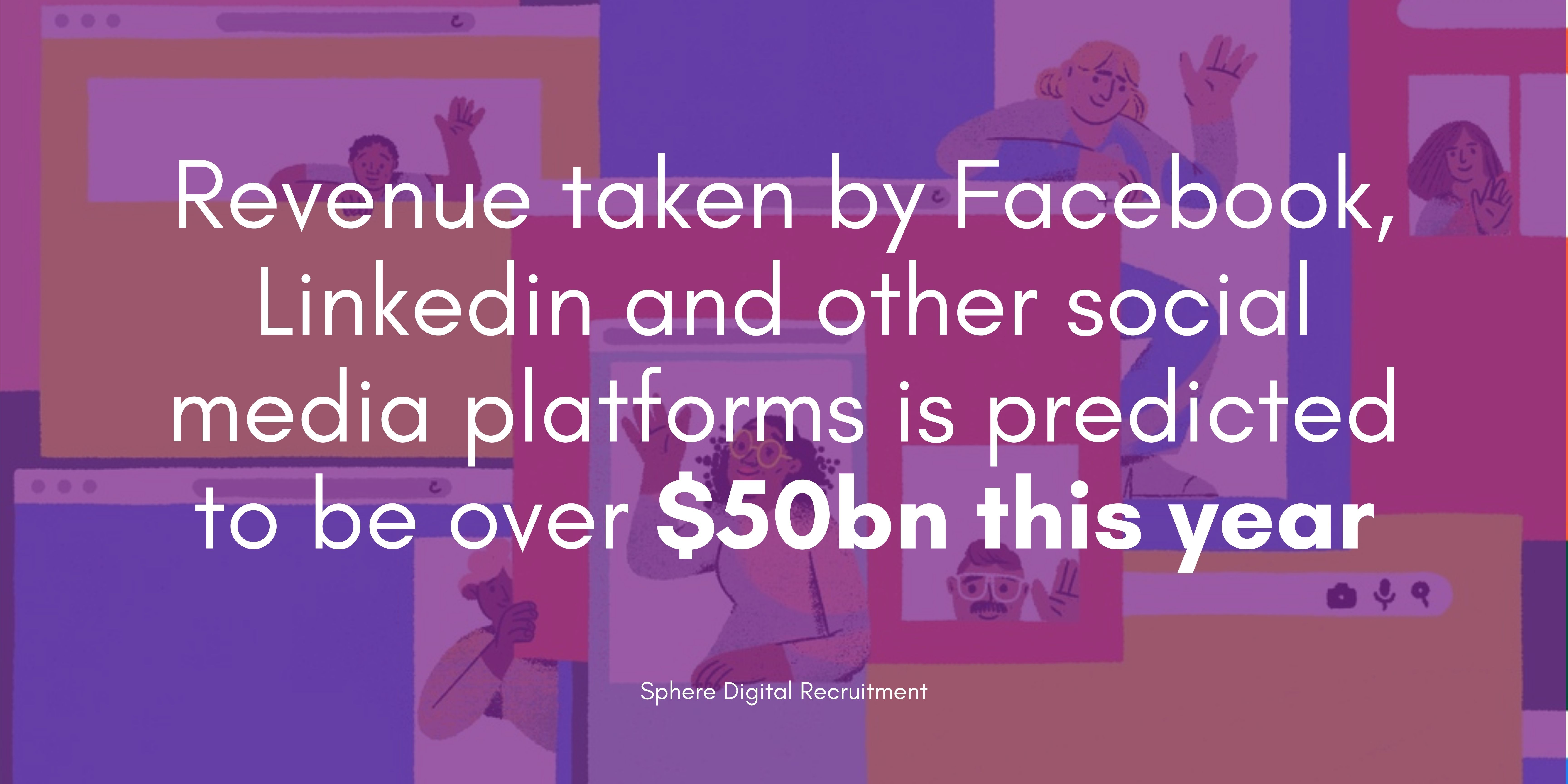 text: Revenue taken by Facebook, Linkedin and other social media platforms is predicted to be over $50bn this year