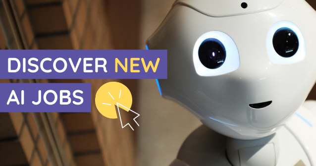 """AI robot with """"discover new AI jobs"""" text"""