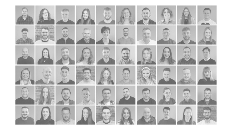 black and white collage of headshots of understanding recruitment's us and uk team