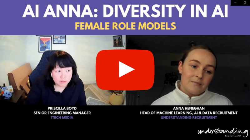 understanding recruitment's head of machine learning anna heneghan interviewing software engineer priscilla boyd for anna in AI video series